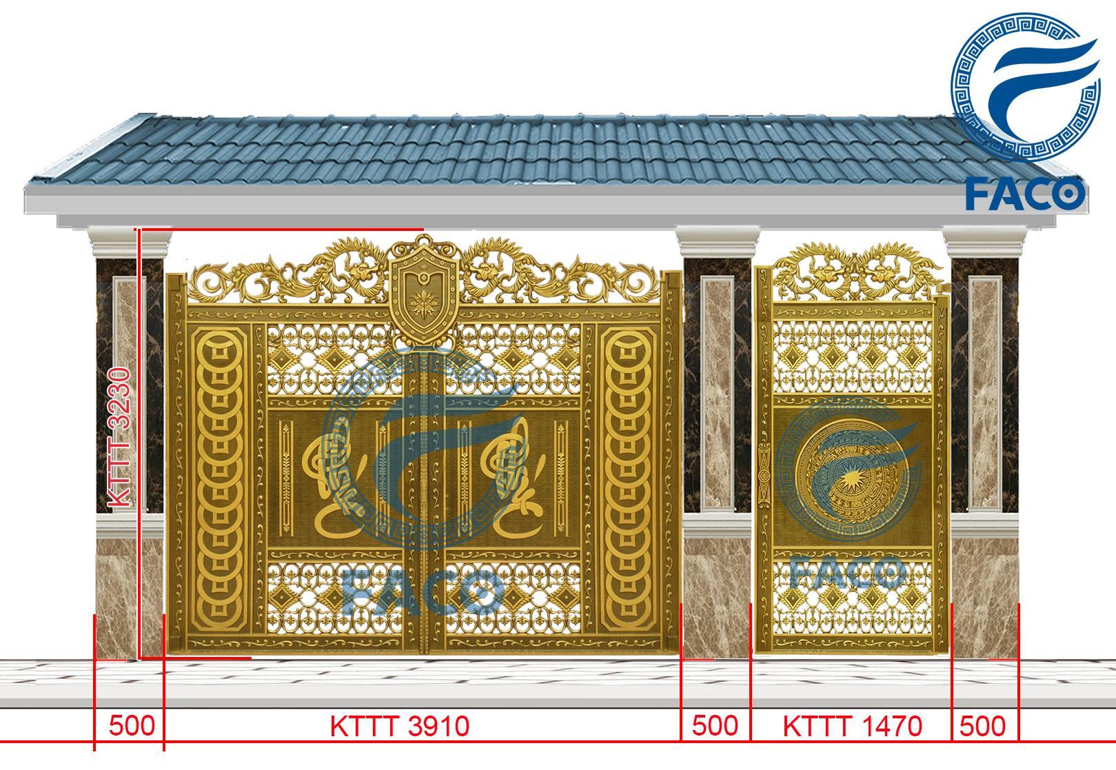 Bộ cổng biệt thự nhôm đúc cổng chính cổng phụ chữ phúc FaCo-20