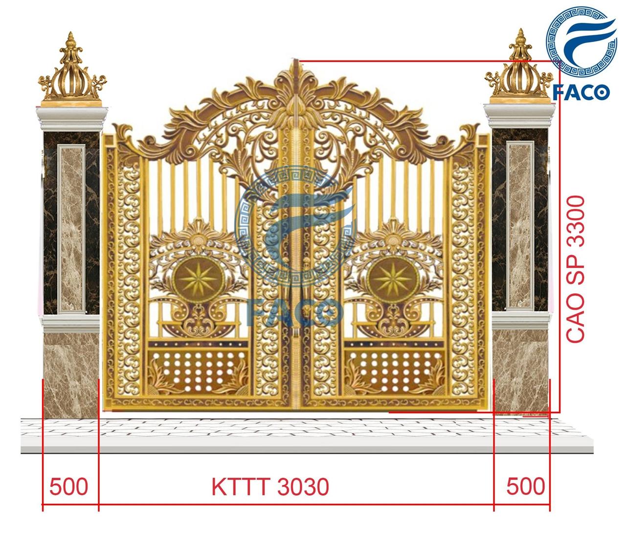 Bộ cổng biệt thự nhôm đúc hoa lá tây thoáng FaCo-17 KT-3030x3300