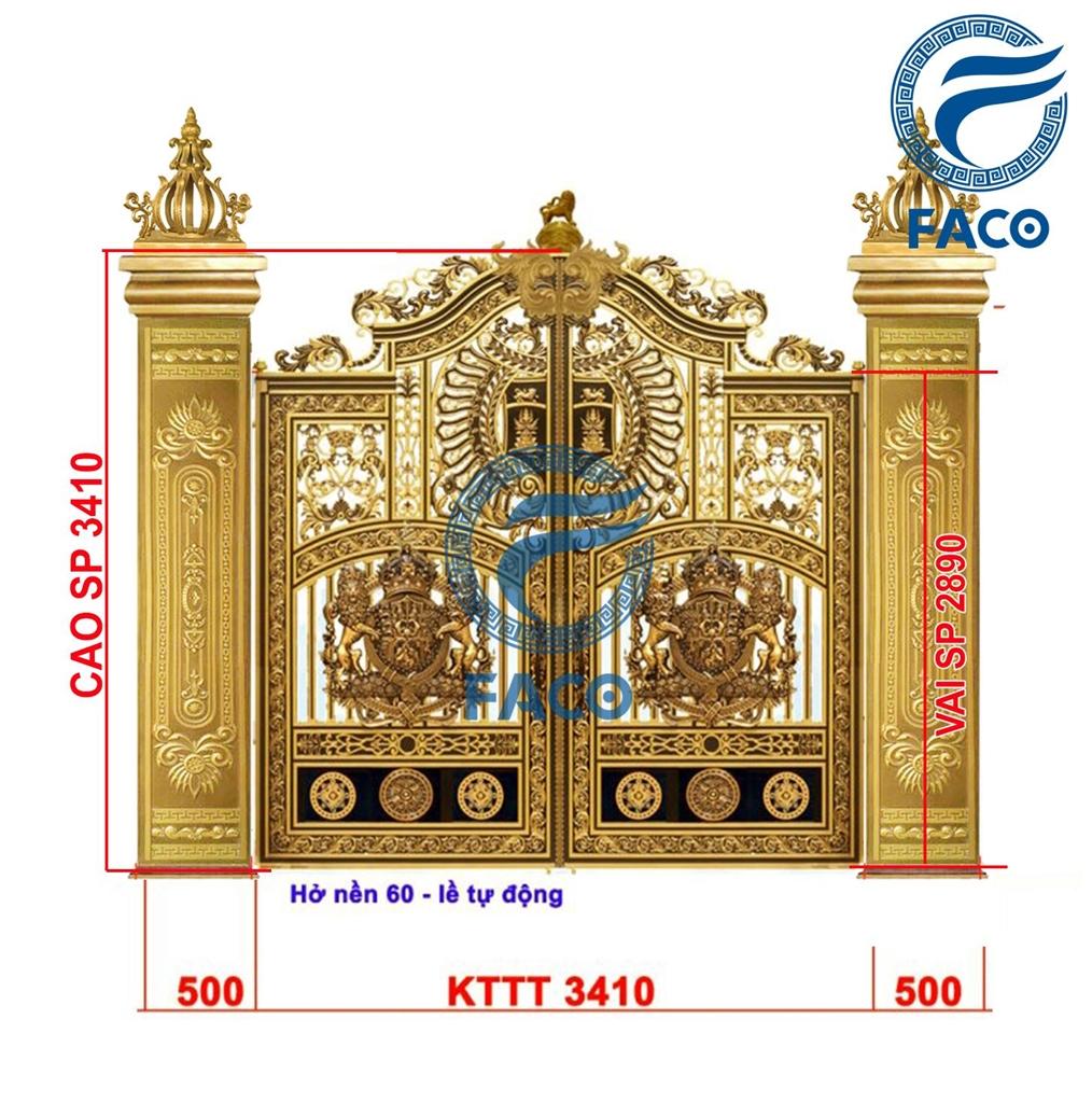 Bộ cổng biệt thự nhôm đúc phù điêu Buckingham và trụ nhôm đúc FaCo-21