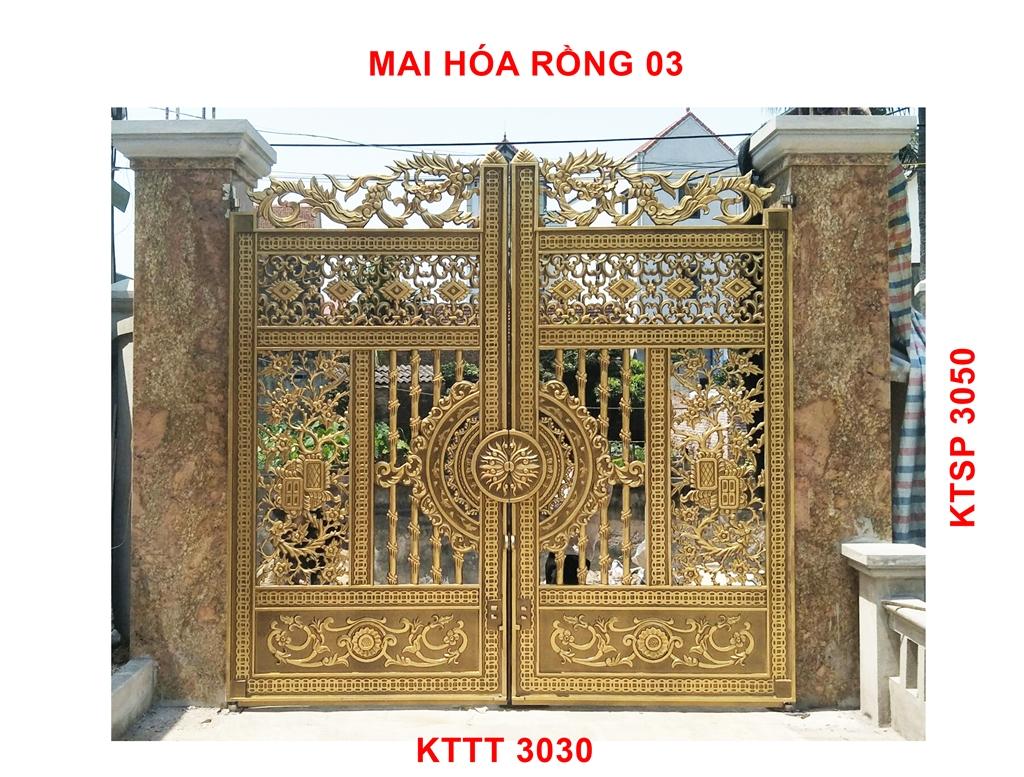 Bộ cổng biệt thự nhôm đúc Trúc Mai hóa rồng FaCo-19 rộng 3030x3050